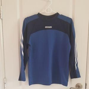 Adidas Boys Blue Shirt with 3 White Stripes